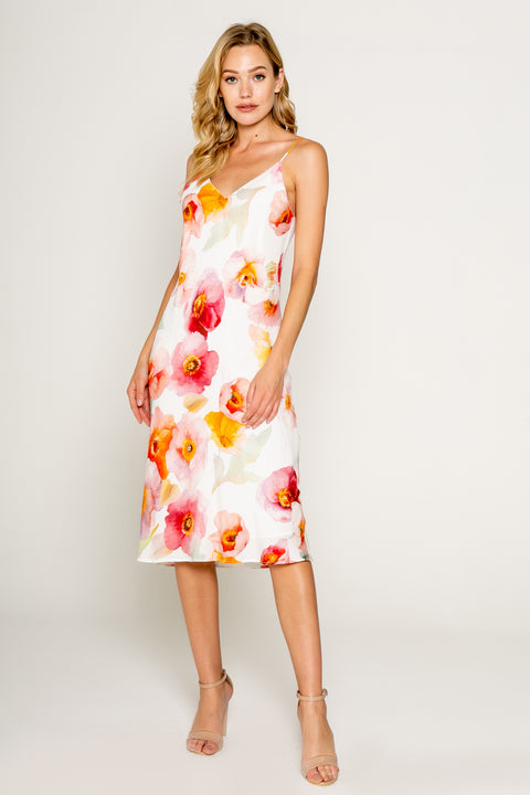 Watercolor Floral Printed Bias Midi Dress