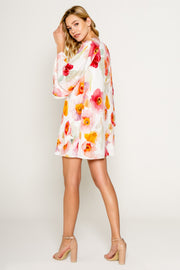 Water color Floral Printed Bell Sleeve Mini Dress