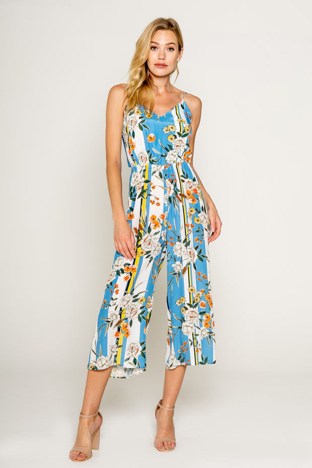 Blue Floral Printed Cropped Jumpsuit with Tie Back