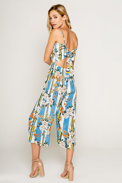 Blue Floral Printed Cropped Jumpsuit with Tie Back-Jumpsuits-Lavender Brown