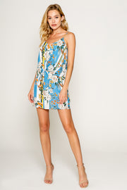 Blue Floral Printed Double Layered Tie Front Mini Dress