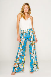 Blue Floral Printed Pull On Pants
