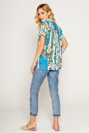 Blue Floral Printed Drop Shoulder Shirts