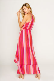 Pink Yarn Dye Stripe Maxi Dress with Ruffle