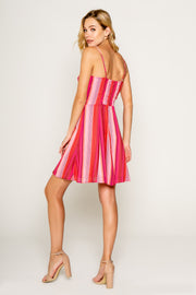 Pink Yarn Dye Stripe Spaghetti Strap Dress