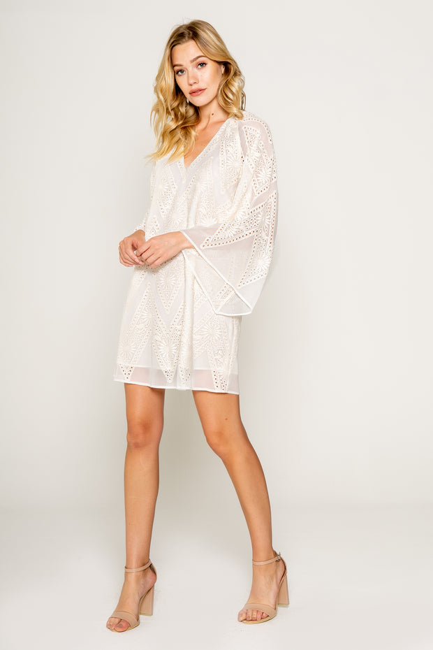 Embroidered Sheer Bell Sleeve Mini Dress