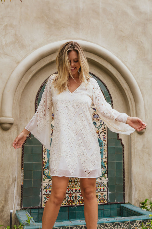 Embroidered Sheer Bell Sleeve Mini Dress-Dresses-Lavender Brown
