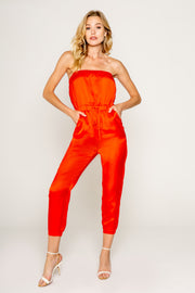 Coral Red Tube Jumpsuit