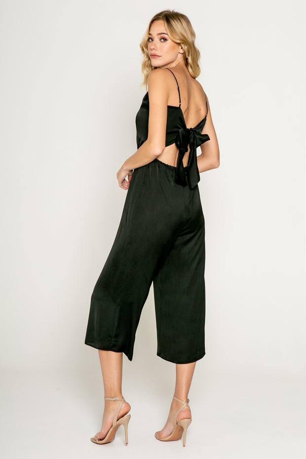 Black Cropped Jumpsuit with Tie Back