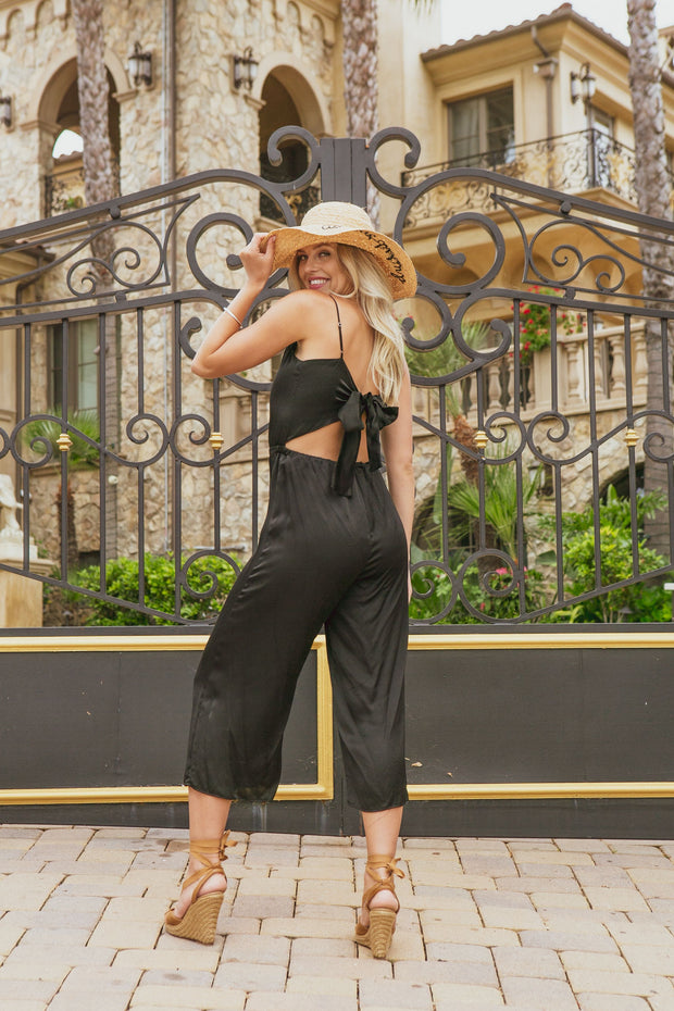 Black Cropped Jumpsuit with Tie Back-Jumpsuits-Lavender Brown
