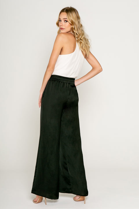 High Waisted Pull on Silky Pants-Pants-Lavender Brown