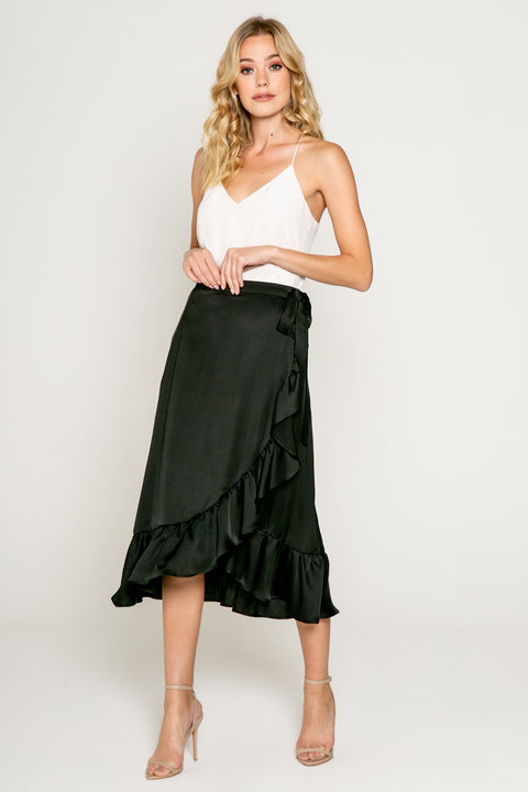 Midi Ruffle Warp Skirt in Black 01