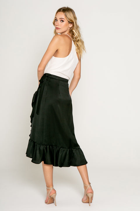 Midi Ruffle Warp Skirt in Black 02