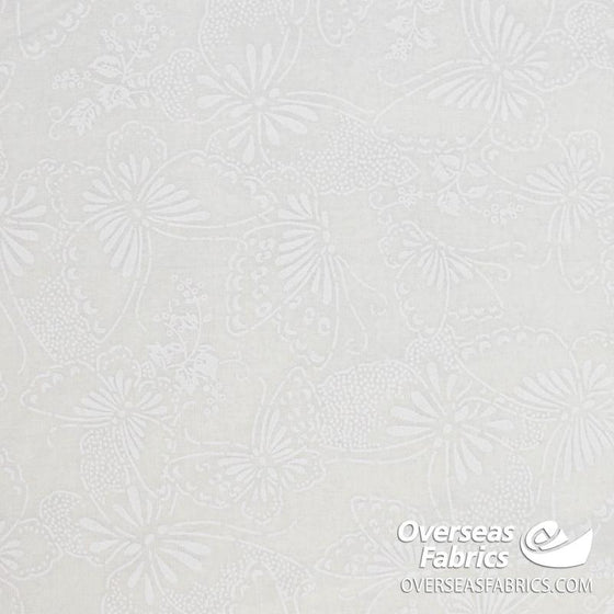 "Quilt Backing Cotton 108"" - Butterflies, White Tone-on-Tone"