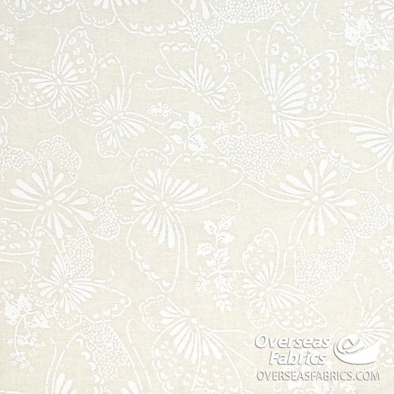"Quilt Backing Cotton 108"" - Butterflies, Ivory Tone-on-Tone"