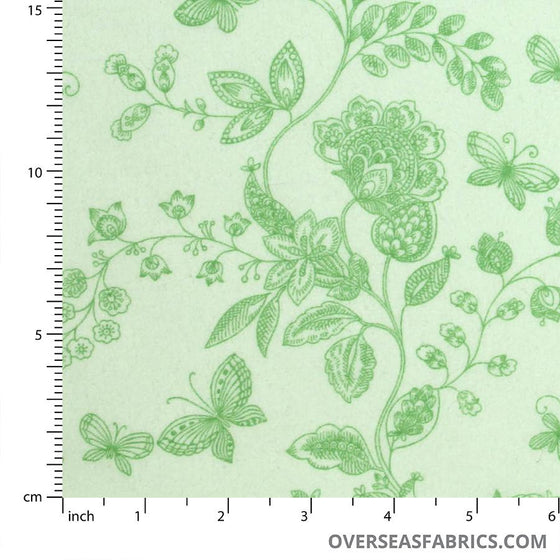 "Quilt Backing Cotton 108"" - Butterfly, Lime"