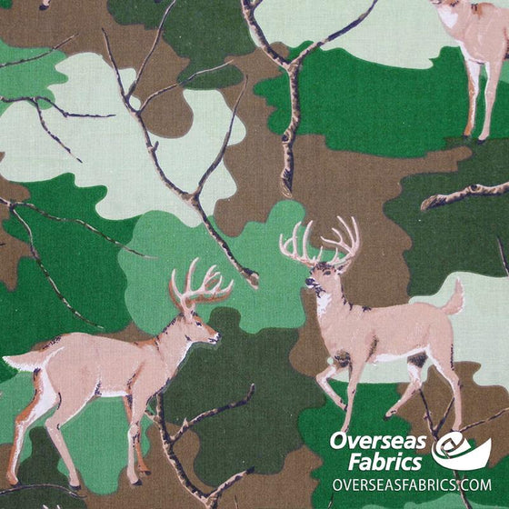 "Quilt Backing Cotton 108"" - Deer, Camouflage"
