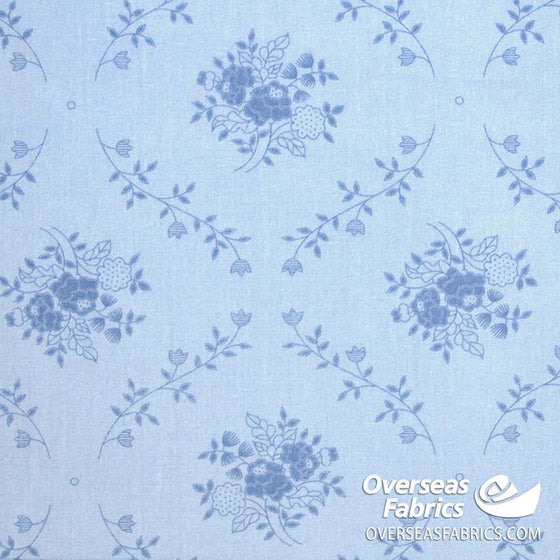 "Quilt Backing Cotton 108"" - Framed Vines, Sky Blue"