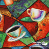 Blank Quilting - Brewed Awakenings, Tossed Coffee Cups, Blue