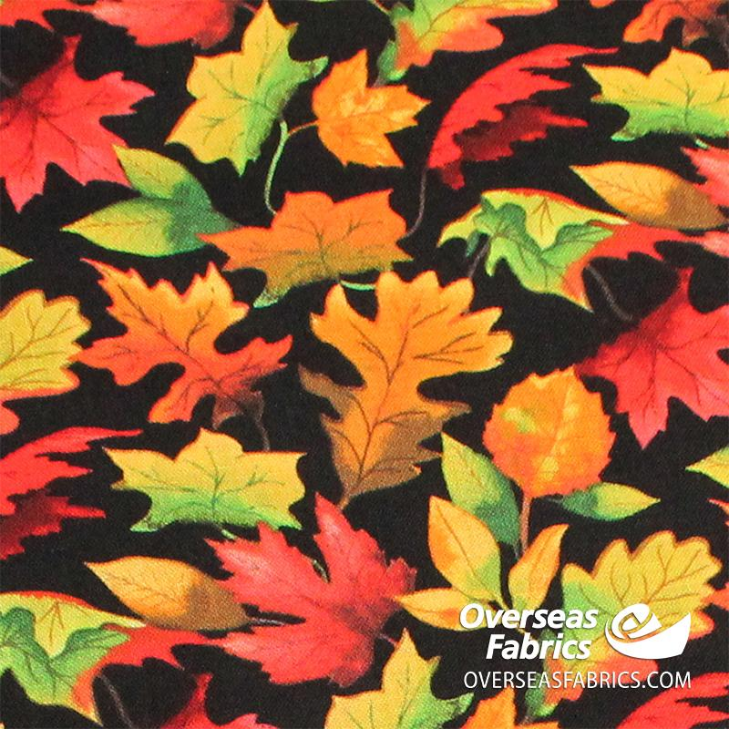 Blank Quilting - Fall Delight, Autumn Leaves, Black