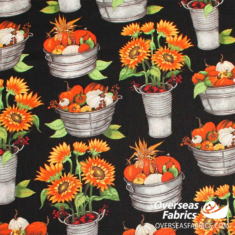 Blank Quilting - Fall Delight, Pumpkins and Sunflowers in Tubs, Black
