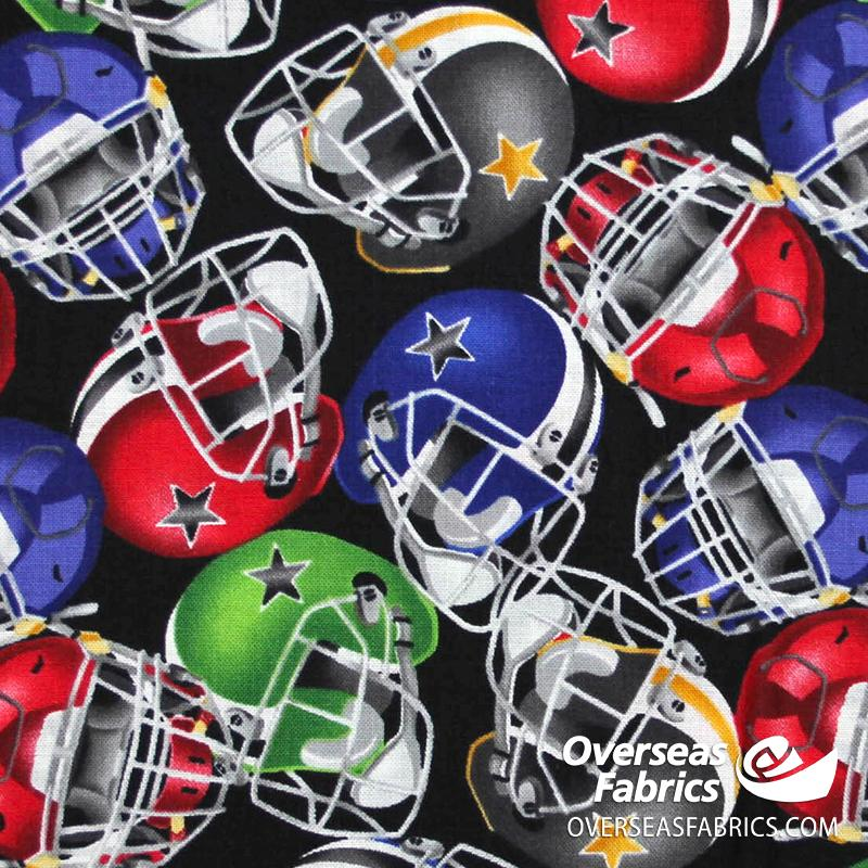 Blank Quilting - Love Of The Game, Football Helmets, Black