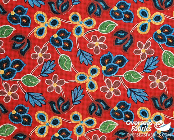 David Textiles - Northwest Territory, Embroidered Petals, Red