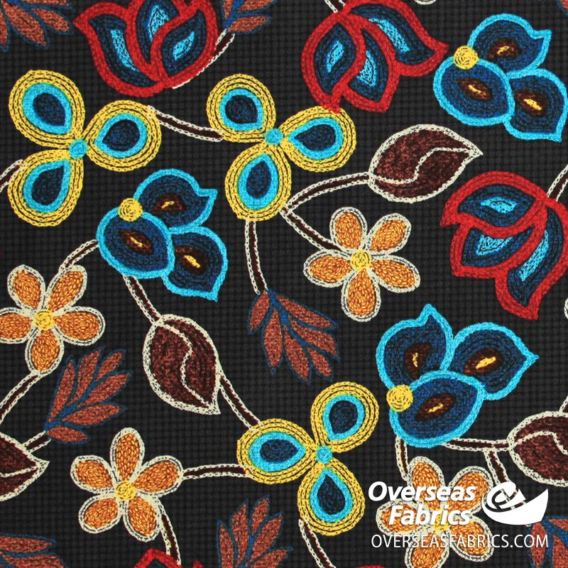David Textiles - Northwest Territory, Embroidered Petals, Black