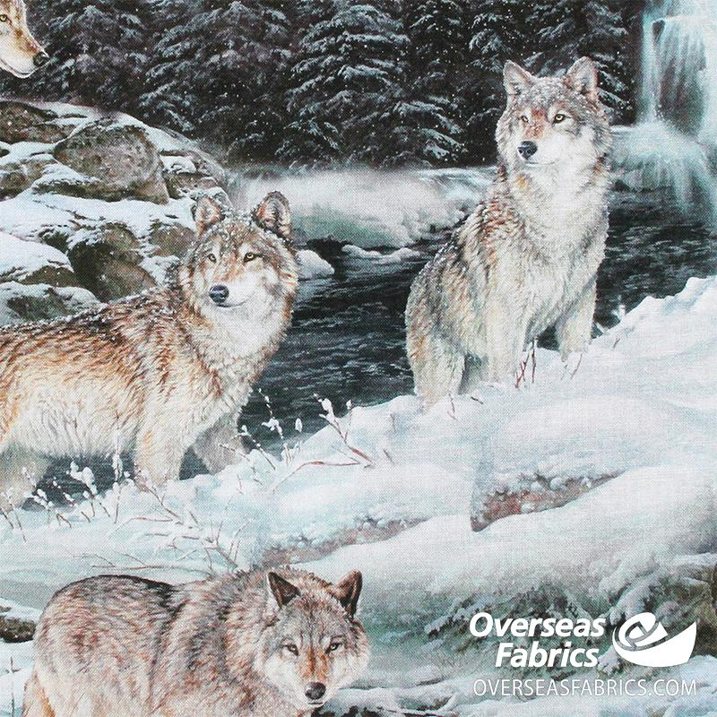 David Textiles - Wild Animals, Wolves in the Snow, Blue