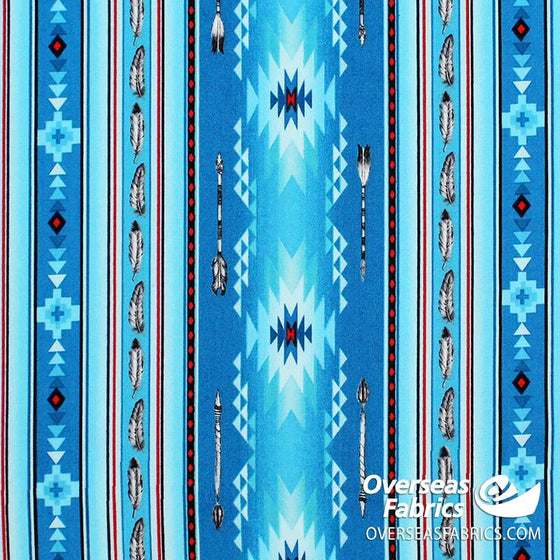 Elizabeth's Studio - Native Spirit, Arrow Feather Stripe, Blue