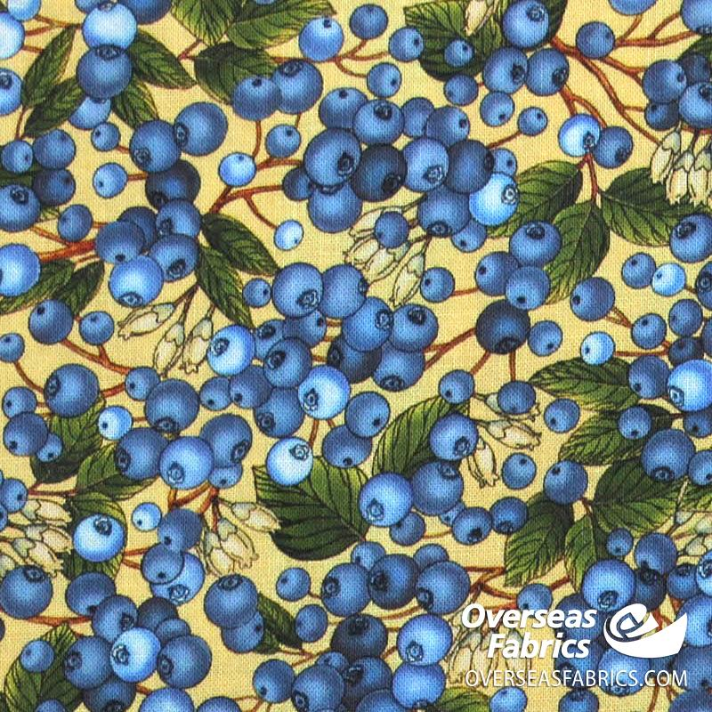 QT Fabrics - This and That, Blueberries, Yellow