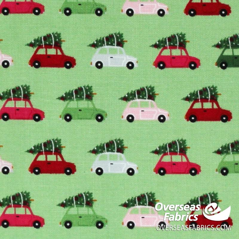 Riley Blake - Merry and Bright, Cars, Light Green