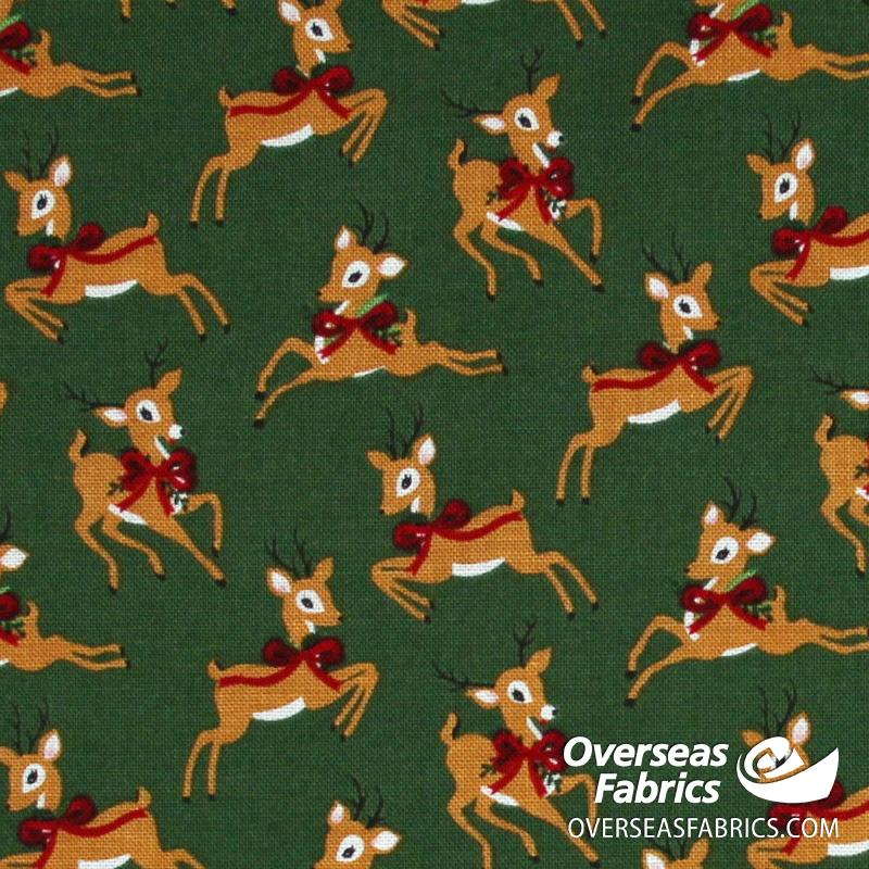Riley Blake - Merry and Bright, Deer, Green