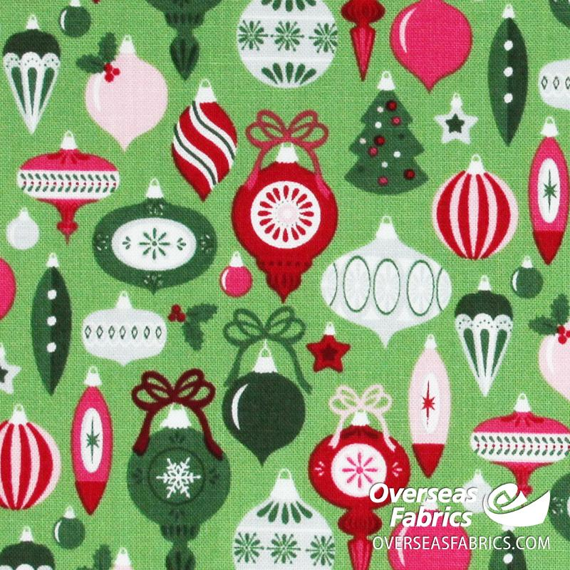 Riley Blake - Merry and Bright, Ornaments, Light Green