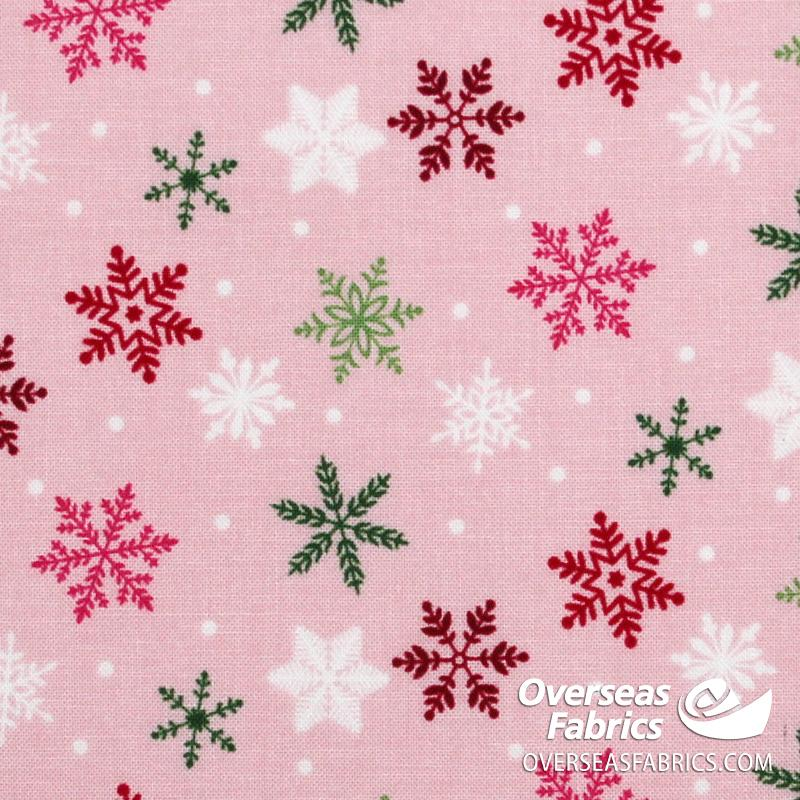 Riley Blake - Merry and Bright, Snowflakes, Pink