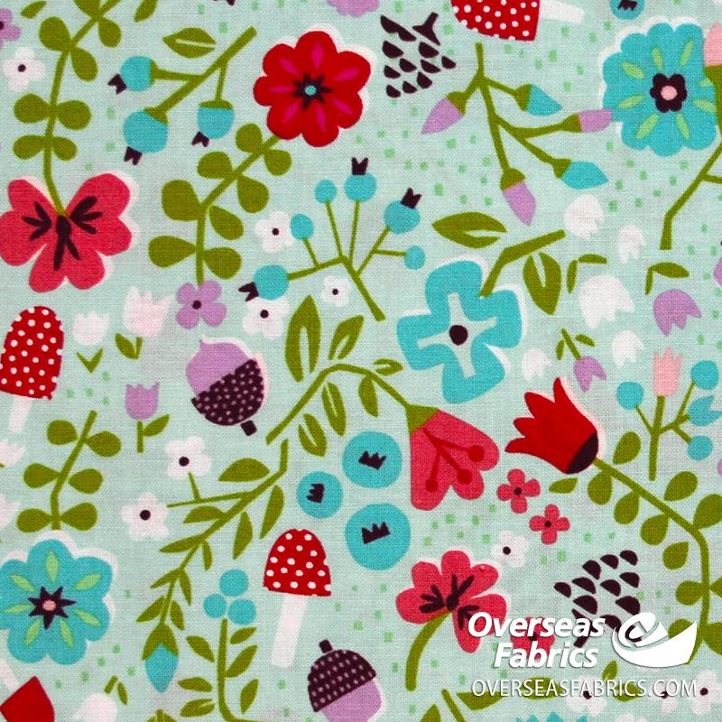 Riley Blake - Little Red In The Woods, Floral, BlueGreen