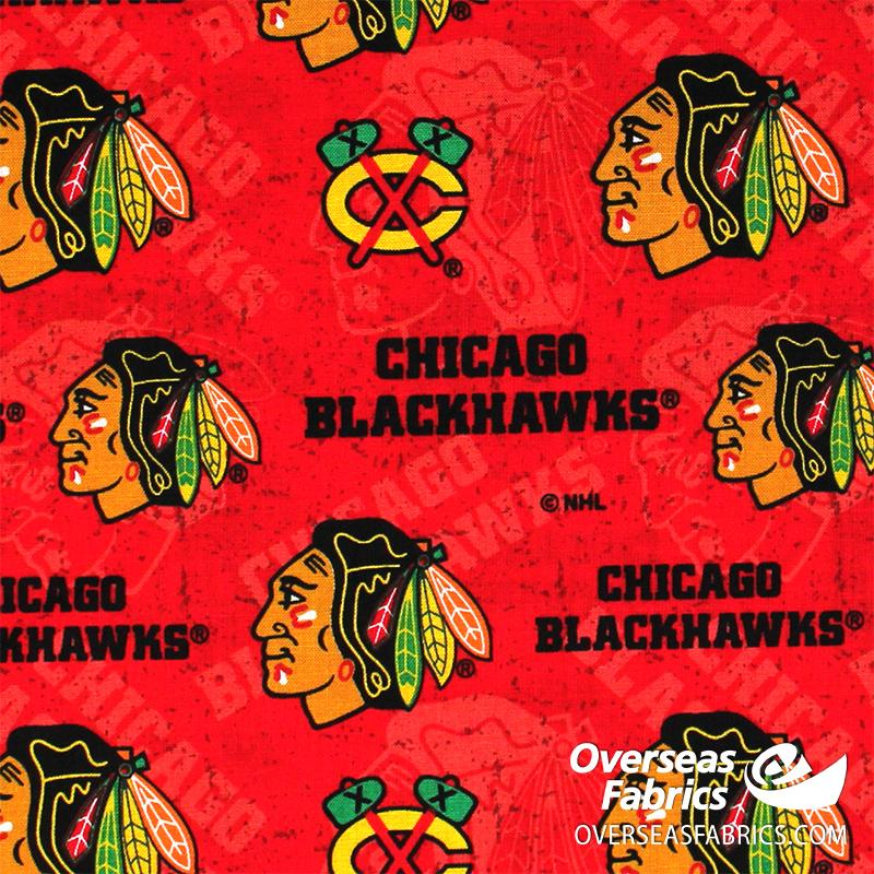 NHL Quilting Cotton - Chicago Blackhawks, Red 1199