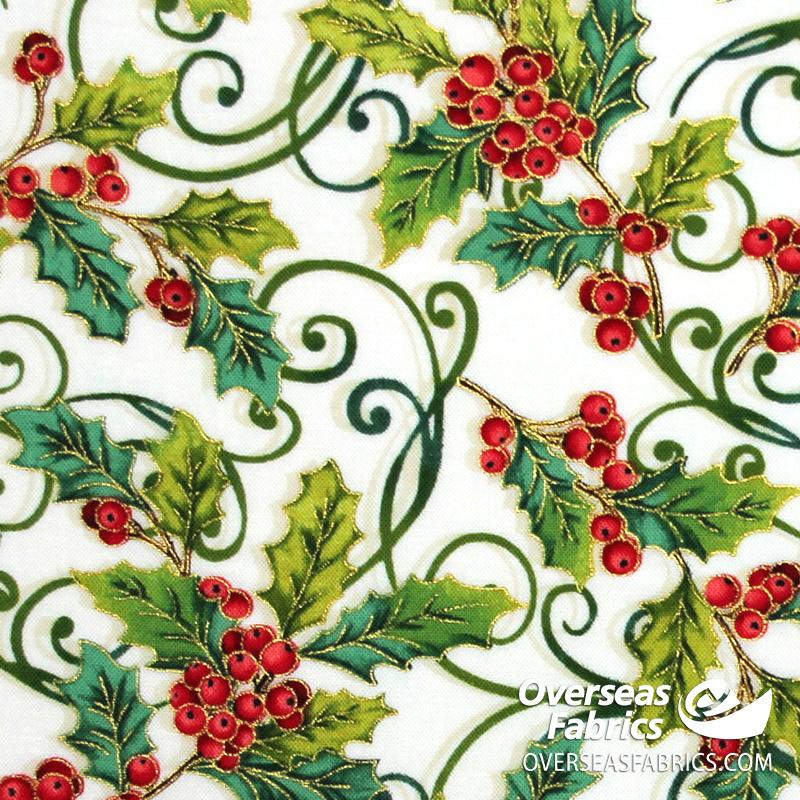 StudioE Fabrics - Christmas Joy, Holly Allover, Neutral