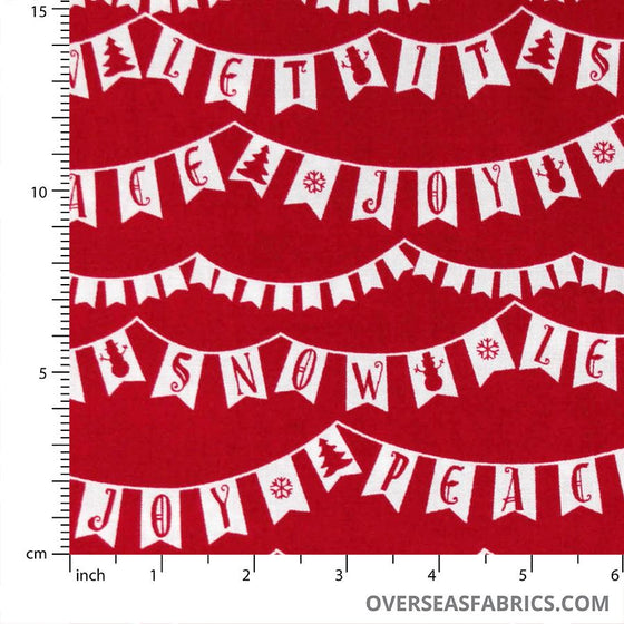StudioE Fabrics - Winter Essential III, Peace Love Joy Banner, Red
