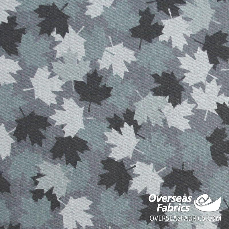 Windham Fabrics - Canadian Christmas, Maple Leaves, Grey