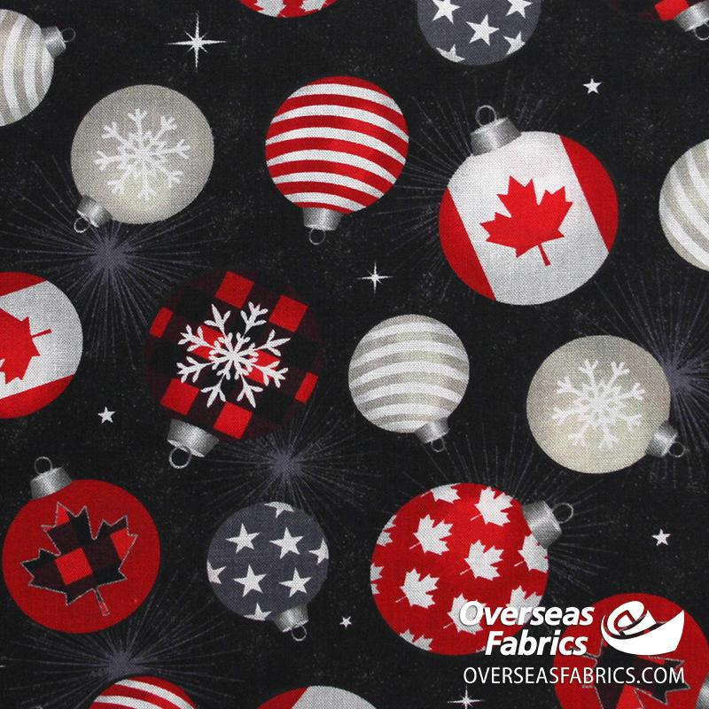 Windham Fabrics - Canadian Christmas, Ornaments, Black