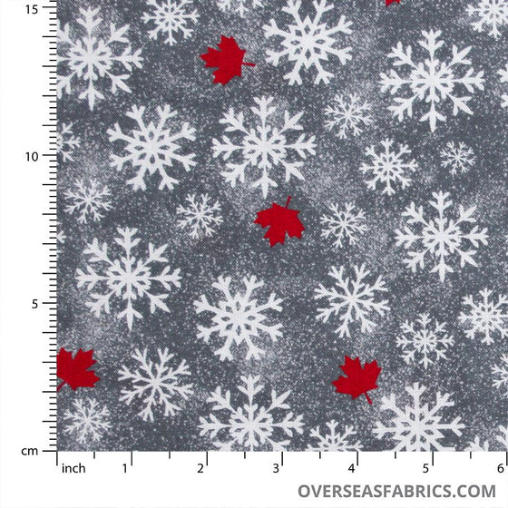 Windham Fabrics - Canadian Christmas, Snowflakes and Maple Leaves, Grey