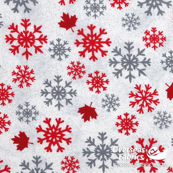 Windham Fabrics - Canadian Christmas, Snowflakes and Maple Leaves, White