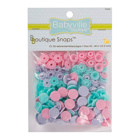 Babyville - Plastic Resin Snaps, Pink-Green, 12.2mm