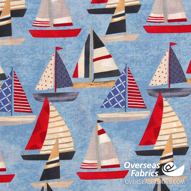 Blank Quilting - Harbor Days, Sailboat, Blue