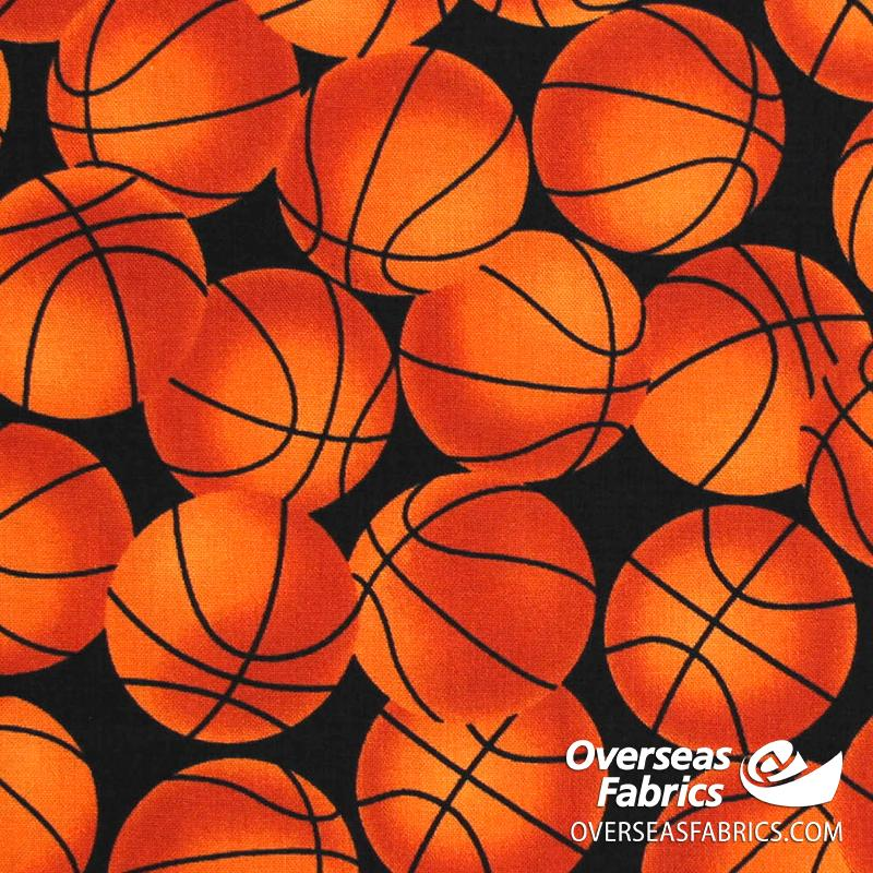 Blank Quilting - Love of the Game, Basketballs, Rust