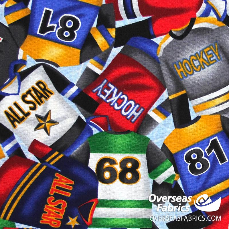 Blank Quilting - Love of the Game, Hockey Jerseys, Blue