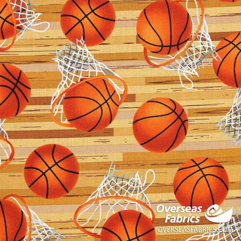 Blank Quilting - Love of the Game, Basketball Hoops, Tan