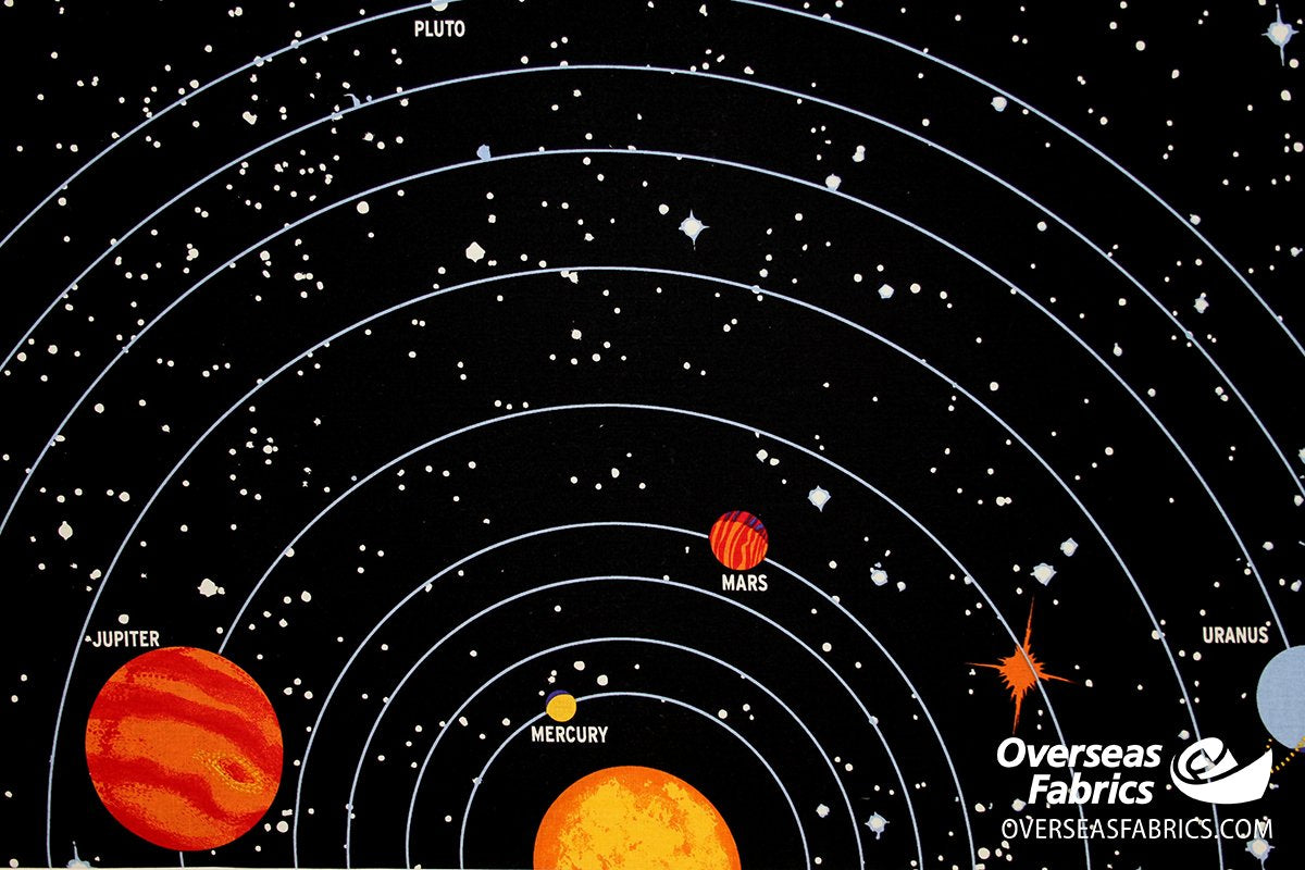 Blank Quilting - Solar Chart PANEL, Black (Glow-in-the-dark)