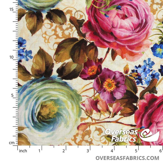 David Textiles - Lisa Audit, Victoria's Flowers, Tan